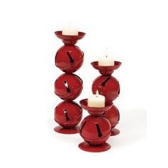 Set of 3 Christmas Traditions Red Jingle Bell Candle Holders