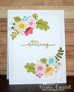 Heather Campbell for Avery Elle using Fabulous Florals stamps and dies and Finished Frames dies.