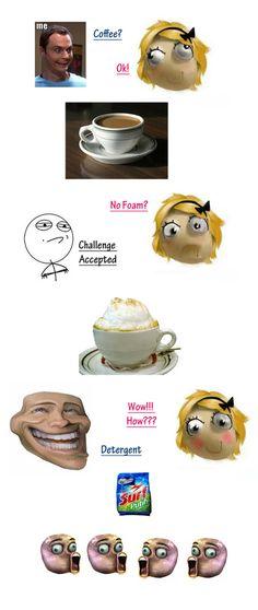 Foam in Coffee Meme from Troll Freak.  #funny #humor