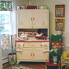 Hoosier cabinet in white with red trim ... love it!