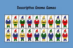Speech Therapy Ideas: Descriptive Gnome Games. Pinned by SOS Inc. Resources @so siu ki Inc. Resources.
