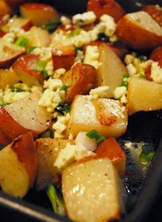 Blue Cheese Roasted Potatoes blue cheese, food, roasted potatoes, roast potato, eat, recip, side dish, blues, chees roast