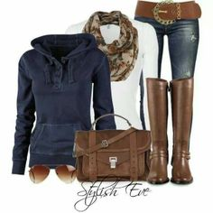 Casual uptown Winter Jeans Outfit ~ Blue & Brown