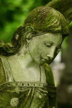 Green:  #Green mossy statue.