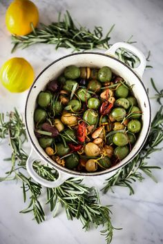 Feasting at Home: Warm Rosemary Olives with Chili Threads