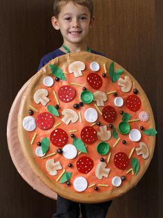 The Halloween experts at DIY Network have instructions on how to make a homemade pizza costume.
