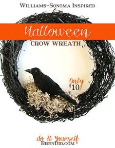 BrenDid Williams Sonoma Inspired Halloween Crow Wreath