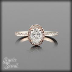 Rose Gold Engagement Ring with Diamond by LaurieSarahDesigns, $5552.63