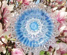blue & clear glass garden flower