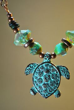 Long Verdigras Turtle necklace with turquoise Czech by Beechtree, $38.00