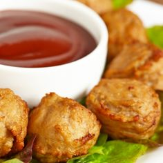 Chicken Ball Appetizers with dip will disappear off the serving platter.