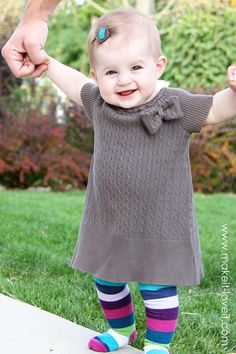 toddler sweater dress made from an adult sweater