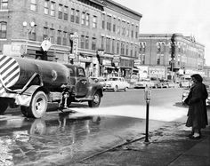 Street flushers remove some of the winter dirt and cinders at 16th and Davenport Streets in March 1955. THE WORLD-HERALD Like anything you see? Email owhstore@owh.com or call 402-444-1014 to purchase prints.