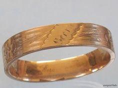ANTIQUE 1917 GOLD FILLED WIDE HINGED BANGLE BRACELET