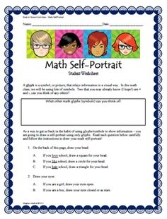 Back to School Activities - Math Self-Portrait This would be great for a first guidance lessons!