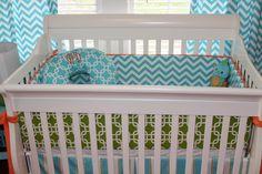 Bright and Modern Orange, Turquoise, Gray Nursery Chevron Bedding