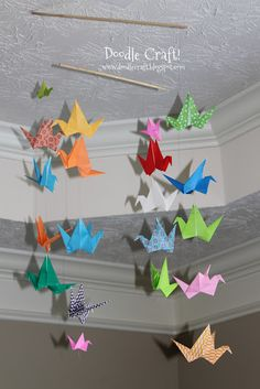 Doodle Craft...: Origami Flapping Paper Crane Mobile!