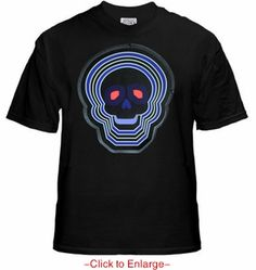 """Raving Mega Future Skull Flashing T-Shirt. Comes with a custom tiny driver unit that automatically cycles through 5 to 8 animation patterns (depending on design). The skull design is a large 5"""" wide x 6"""" height. Price $24.99"""