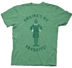 Smiling's My Favorite, Elf Movie Green T-Shirt