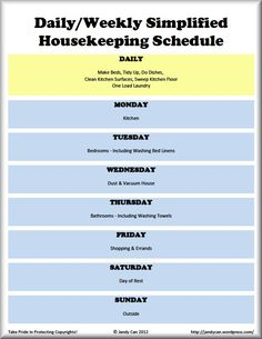 Daily & Weekly Cleaning Schedule Sabbath
