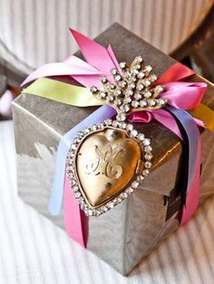 mirror paper and colorful satin ribbons wrap
