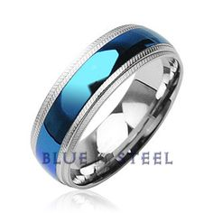 PIN IT TO WIN IT! Blue Diamond:  This very trendy looking ring is for the cool, calm, caring, and collected. This Stainless Steel Ring is simply striking with its bright blue center and textured edges.   $49.99  www.buybluesteel.com #buybluesteel