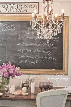 summer crafts, dining rooms, crystal chandeliers, country cottages, cottage look, chalkboard paint, french country, french cottage, french style