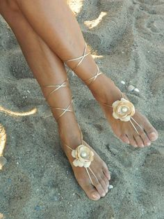 Champagne flower Beach wedding barefoot sandals, bangle, wedding anklet