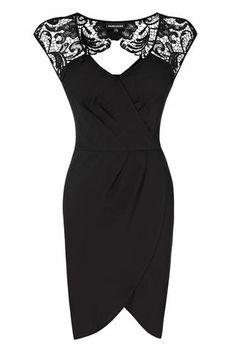 BLACK Lace Shoulder Wrap Dress
