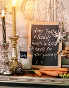 Cute note for Santa. holiday, carrot, father christmas, messag, santa letter, christmas decorations, chalkboard, snack, kid