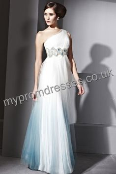 Floor Length One-shoulder White and Blue Tulle A-line Evening Dress Genoa-0033