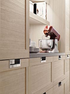 Modern recessed pulls, cabinet finish