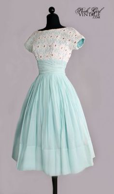 1950's Aqua & White Lace Tea Length Dress.