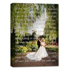 first dance lyrics printed over photo