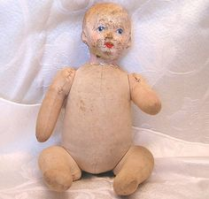 Antique Baby Doll Composition Head, Hard Stuffed Jointed Body. Shop: luvintage