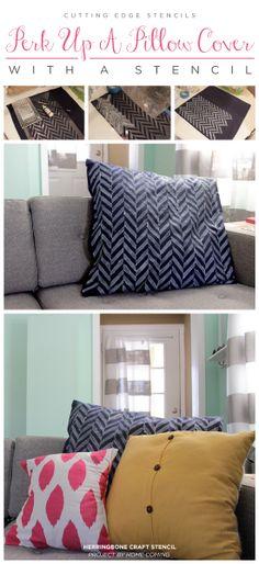 herringbon stencil, craft, includ pillow, creativ pillow, stencil decor, diy stencil, pillow covers, edg stencil, stencil pillow