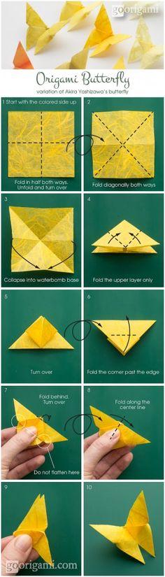 Vlinder vouwen. Een aantal aan dunne nylondraadjes hangen en je hebt een prachtige mobile. idea, origami butterfli, crafti, stuff, butterflies, paper, art, diy, thing