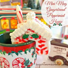 Super cute Mini Mug #Christmas House Tutorial using melted Peppermint Candy… ADORABLE! hous tutori, peppermint candi, mini houses, candies, christma hous, melt peppermint, gingerbread houses, christmas houses, mini peppermint