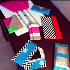 couture clutches (made with shelf liner, duct tape, and velcro). original idea: @psimadethis