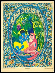 Hippie posters embody the vibe ... 1967 Hari Krishna original poster from East Totem West.
