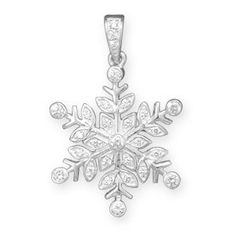 Polished Silver and CZ Snowflake Pendant!