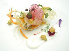 Ricciola carpaccio and beet air #molecular  #gastronomy