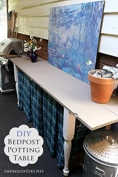 DIY Bedpost Potting Table