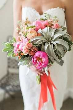 #succulent bouquet – photo by Lauren Fair, floral design by Belovely – http://ruffledblog.com/riverdale-manor-wedding/