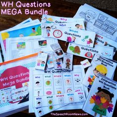 WH Questions Mega Bundle: 3 levels of interactive books, posters, student strips, black and white coloring, Do-A-Dot, WH Scenes, and 100 flash cards! Love this Mega bundle for WH Questions! From TheSpeechRoomNews.com