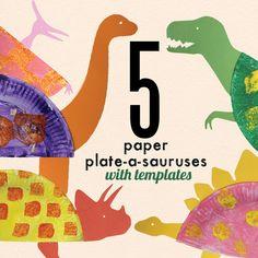 Paper plate-a-saurus art fun for kids #ArtsyPlayWednesday