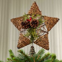 North Star Natural Grapevine Tree Topper