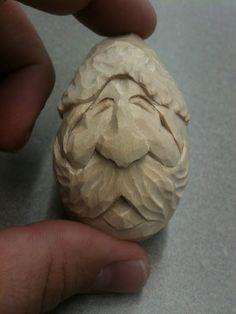 Hand carved Santa bass wood egg
