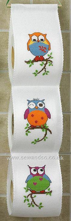 Owls Toilet Roll Tidy Cross Stitch Kit
