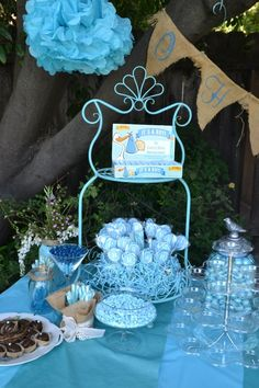 Outdoor Blue Baby Shower - Candy Table - Burlap, birds & blue!